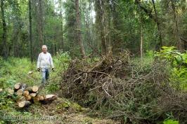 Dean Kalbfleisch separates firewood logs & brush in Arnold L. Muldoon Park.