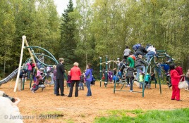 Third graders from Scenic Park Elementary School swarmed the new playground.