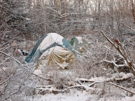 """""""Partying"""" and illegal camping in the woods creates litter & waste problems."""